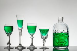 absinthe bottle and glasses