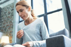 woman sweating excessively